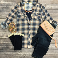 Penny Plaid Flannel Top: Peach2