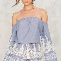 What She Thread Embroidered Romper