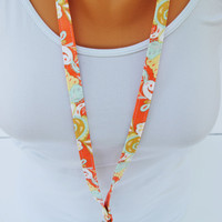 Coral and mint Lanyard, coral ID badge, mint lanyard, mint peach lanyard, cute girly lanyard, teal and coral lanyard, peach wrist strap