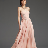 Pink Pleated Embroidered Chiffon Strapless Prom Dress - Unique Vintage - Cocktail, Pinup, Holiday & Prom Dresses.