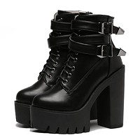 Buckle Lace Up Leather Boots