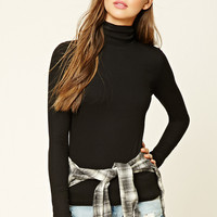 Ribbed Knit Turtleneck Top