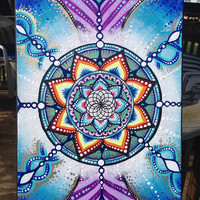 Aqua Flower of Life Mandala Original