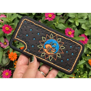 Sun and Moon Hand Tooled Leather iPhone X Case