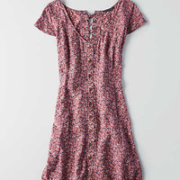 AEO Button Front Shirtdress, Pink