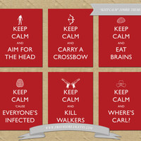 SET OF SIX - Keep Calm Zombie Themed Prints Inspired by The Walking Dead (Printable)