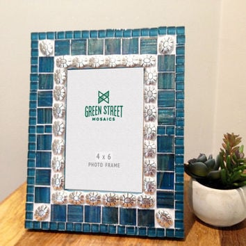 4 x 6 Picture Frame / Mother's Day Gift / Mosaic Photo Frame in Dark Teal with Silver Flowers / Mosaic Home Decor