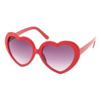 Red Plastic Heart-Shaped Sunglasses by Charlotte Russe