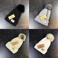 UGG Knit Hat Cap Winter Pom Pom Beanie Hat with Warm Fleece Lined