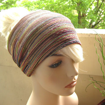 Colorful Striped Turban Wrap Headband Women's Wide Head Wrap Summer Party Hair Accessories