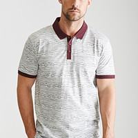 Contrast-Trimmed Southwestern Print Polo