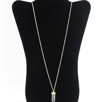 Clear Stone & Gold Pendant Dangle Necklace