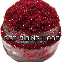 Red Riding Hood GLITTER Sample Size Mini Jar Bright Blood Red Gothic Red Vivid Red Halloween Magic Glitter Collection Lumikki Cosmetics