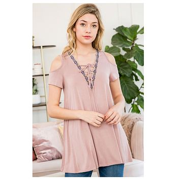 CLOSEOUT SALE! Adorable Taupe Cold Shoulder Lace Up Neckline Tunic Top