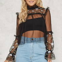 Hot Mesh Top Black