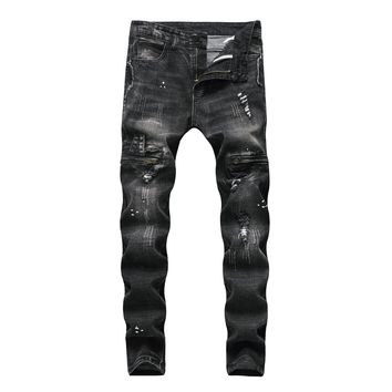Blue Slim Ripped Holes Men Jeans [3444984545373]