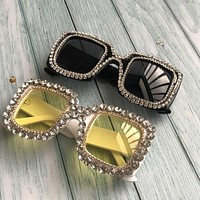 Big Square Shape Diamond Sun Glasses