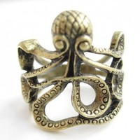 Steampunk Bronze Octopus ring chose your size