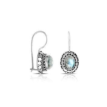 AE-7017-RM Sterling Silver Earring With Rainbow Moonstone