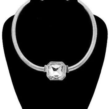 """12"""" silver crystal layered choker bib collar necklace earrings ribbed"""
