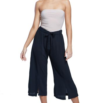 Self-Tie Little Slit Cropped Pants