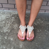 White Olympia Cut Out Sandals