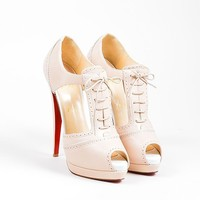 HCXX Nude Christian Louboutin Leather Cut Out Lace Up   Meree 160   Heels