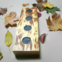 Rustic Candle Holder - Wood Tea Light Candle Holder - 4 Candles