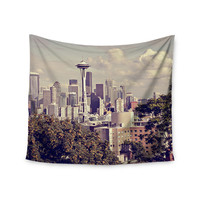 """Sylvia Cook """"Space Needle"""" Beige Skyline Wall Tapestry"""