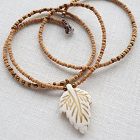 Tribal Necklace, White Turquoise Leaf, Tiny African Coconut Beads, Bohemian Necklace, Copper Glass Seed Beads, Minimalist Thin Necklace