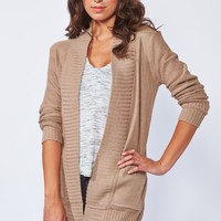 0739-25913674 Ribbed Open Cardigan