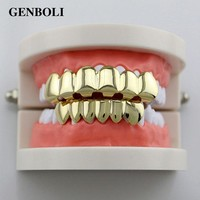 DCCKF4S GENBOLI Gold-color Silver Plated Hiphop Hip Hop Teeth Grillz Caps Top & Bottom Teeth Grills Set + 2pcs Silicone Pad Body Jewelry