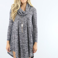 Lunar Love Black Cowl Neck Sweater Dress With Long Sleeves