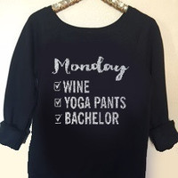 Monday - Wine Yoga Pants Bachelor - Ruffles with Love - Off the Shoulder Sweatshirt - Womens Clothing - RWL