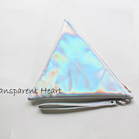 Holographic Trangle bag clutch pouch- Holographic clutch - leather bag - Leather clutch- small pouch
