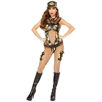 Army Cadet Military Two-Tone Halloween Costume Catsuit with Pocket Detail