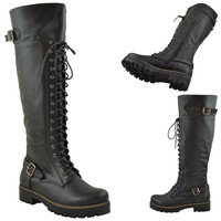 Womens Over The Knee Buckle Lace Up Combat Boots Black Knee High Zipper Closure