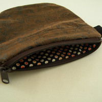 Brown Patterned Faux Leather PouchPurse with Brown Zipper Biker Pouch CellPhone Carrier Gadget Purse Wallet