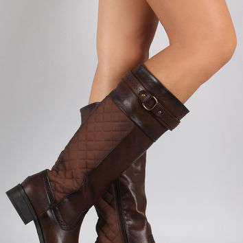 Perforated Trim Quilted Back Riding Knee High Boots