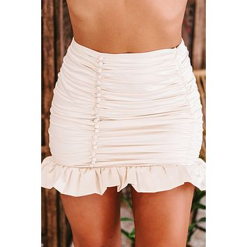 My Model Moment Ruched Button-Front Satin Mini Skirt (Cream)