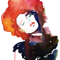 Print of Watercolor Fashion Illustration by Cate Parr. Titled: Model Ink2