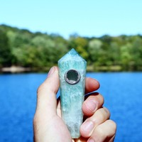 Cyan Fluorite Natural Healing Crystal Pipe