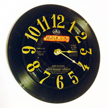 Record Clock, Vinyl Record Clock, Wall Clock, Dexys Midnight Runners Record, Recycled Record, Battery & Wall Hanger included, Item #53