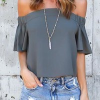 Grey Pleated Off Shoulder Backless Casual Going out Blouse