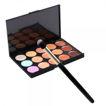 15-Color Face Cream Concealer Palette & Small Size Angled Makeup Brush Set