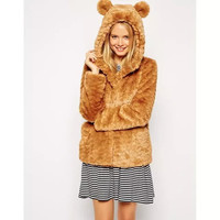 Fur Long-Sleeve Hooded Button Coat