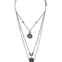 Triple Row Ethnic Charm Necklace