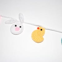 Easter Garland, Crochet Bunting, Spring Party Decoration, Wall Hanging, Handmade Home Decor