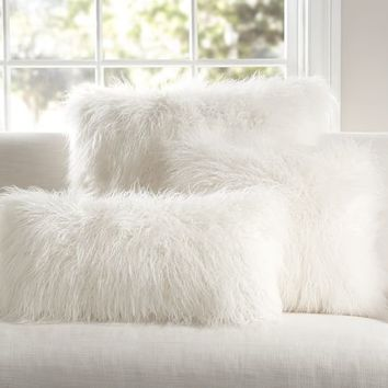 Mongolian faux fur pillow cover ivory from pottery barn for White faux fur pillow
