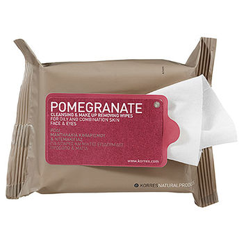 Korres Pomegranate Cleansing & Make Up Removing Wipes For Oily And Combination Skin